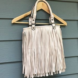 Handbags - White leather fringe purse